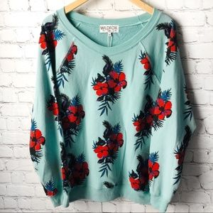 WILDFOX Hibiscus Dreams Floral Oversize Sweater